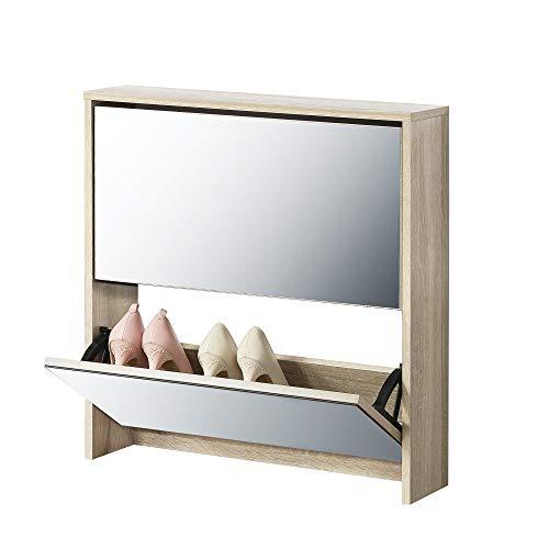 Schoenenkast met spiegels 2 vouwdeuren Sonoma eiken look