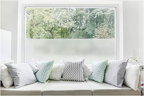 TEXMAXX Milchglas Fensterfolie Sichtschutz - 45cm x 200cm - SF11 Jalousien Design - Blickdicht statisch selbsthaftende Milchglasfolie Sichtschutzfolie