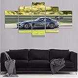 IKLOP Cuadro 5 Piezas Mercedes Ben Lienzo XXL Wall Art Decoración del Hogar Impresiones HD Póster Mural 150X80Cm De La Decoración De La Pared