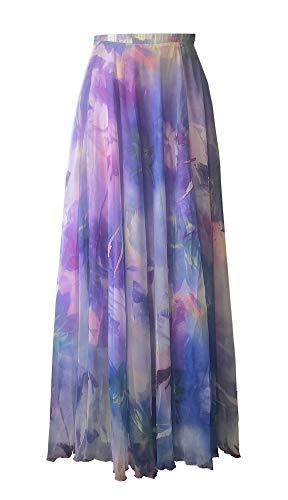 Pretchic Women's Blossom Floral Print Chiffon Boho Maxi Long Skirt Purple L