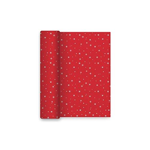 Mantel de Navidad de papel con decorado de estrellas - Rojo y plateado - 1,2 x 5 m