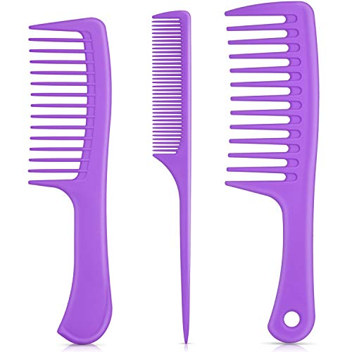3 Pieces Handle Hair Combs Wide Tooth Hair Comb Detangling Comb Tail Comb Styling Comb Anti-static for Thick Hair Long Hair and Curly Hair (Purple)
