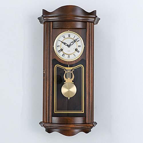 WUJIA Reloj De Pared Péndulo Retro Vintage Mecánico Melodía Melodía Reloj De Pared, Regulador, Reloj De Péndulo Madera Antigua,Linde