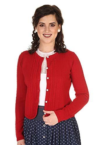 Hammerschmid Damen Strickjacke Trachtenstrickjacke Baumwolle zum Dirndl mit schönem Zopfmuster Rügen 2017500-71 rot Gr.46
