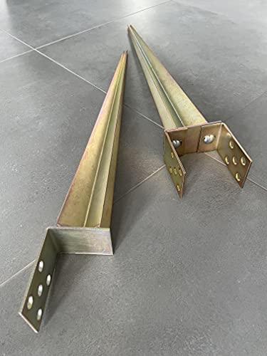 Einschlaghülse Pfostenträger 0-120mm 40-160mm x 750mm Zaunpfostenträger Einschlagbodenhülse U-Pfostenträger L-Pfostenträger Bodenhülse Verzinkt Gold (L-Einschlaghülse)