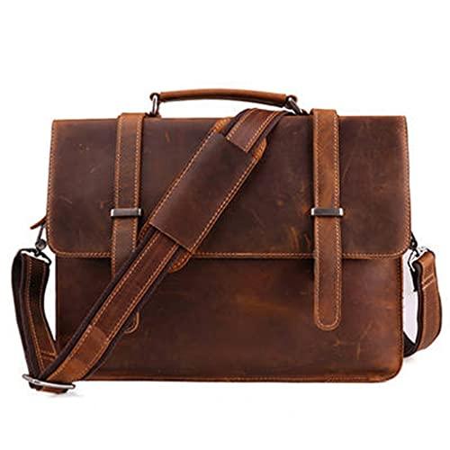 WQXD Hombres Maletín de Cuero Genuino Convertible 14 Pulgadas Laptop Messenger Bolsos Bolso Multifunción Viaje de Negocios Bolso de Hombro (Color : Black, tamaño : 14 Inch)