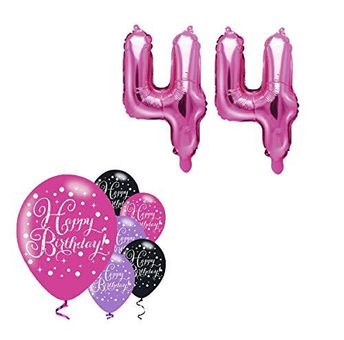Feste Feiern Party-Deko 44. Geburtstag Schnapszahl 8 Teile Set Zahlenballon Luftballon Folie Zahl 44 Pink Schwarz Lila metallic Dekoration Happy Birthday Jubiläum