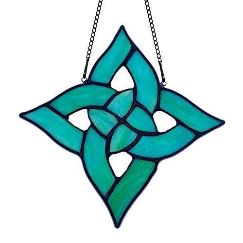 "HAOSUM Celtic Trinity Knot Stained Glass Window Hanging Suncatcher Ornament Decoration Handmake Gift (4.9'×4.9"")"
