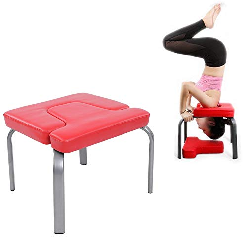 Cocoarm Yoga Kopfstandhocker Handstand Bench, Kopfstand Hocker Yoga hilft Trainingsstuhl Yoga Stuhl Yoga Hocker Inversions Therapie Fitness Hocker für Familie Gym Rot