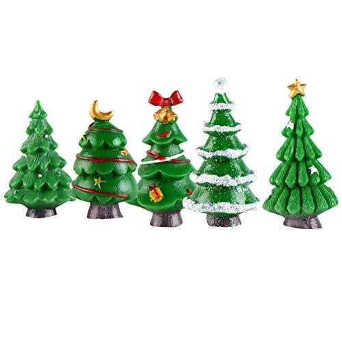 LIOOBO 5pcs Resina Albero di Natale Piccolo Albero di Natale Artificiale Decorazioni per la tavola di Natale Ornamento per Albero da tavola