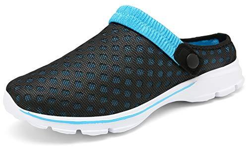 ChayChax Zuecos Mujer Hombre Zapatillas de Playa Respirable Sandalias Verano de Malla Ligeros Antideslizante Clogs Zapatos de Jardin, N Negro Azul, 37 EU
