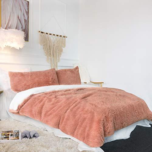 Sleepwish Velvet Flannel Duvet Cover Soft Warm Mauve Plush Bedding Sets 3...