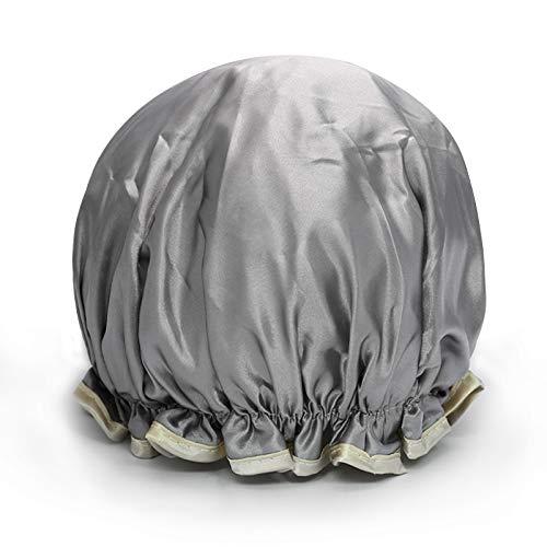 MEIZHIJIA Bonnet De Douche Imperméable Épaissir Adulte Femmes Bonnet De Bain Double Tête De Lavage Bonnet De Douche Anti-Poussière Smokey Tête De Cuisine Couverture Argent Gris 25Cm