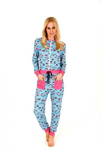 Damen Schlafanzug Einteiler Jumpsuit Overall Langarm mit tollen Motiv 59636, Größe2:44/46, Farbe:türkis