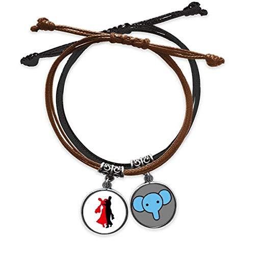 Beauty Gift Pulsera de danza de bailarín social, cuerda de mano, cadena de cuero, elefante