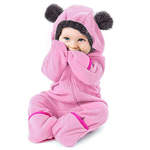SUCES Baby Süß Hoodie Strampler Mädchen Reißverschluss Overall Jungen Kleidung Winter Weich Mantel Langarm Kapuzen Klassisch Outfits (Rosa,90)