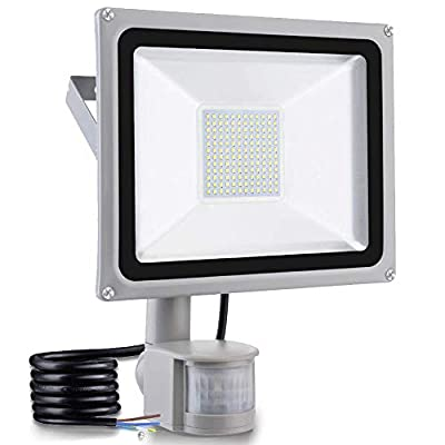 Motion Sensor Led Flood Lights 100W 10000LM Cold White Outdoor Security Floodlights IP65 Waterproof Auto ON/Off Lamp for Garage Billboard Garden Stairs 6500K AC110V