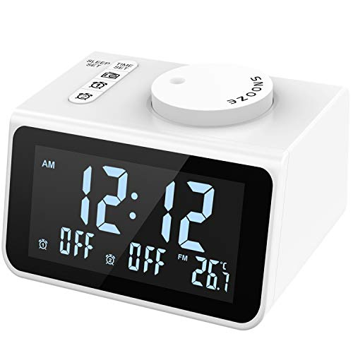 LATME-Alarm-Clock-Radio-for-Heavy-Sleepers W Dual Alarms,3.2'' Digital Display and Dimmer,7 Alarm Sounds,Snooze,2 USB Ports,Bedside FM Radio Clocks with Temp for Bedrooms/Kitchen/Office (White)