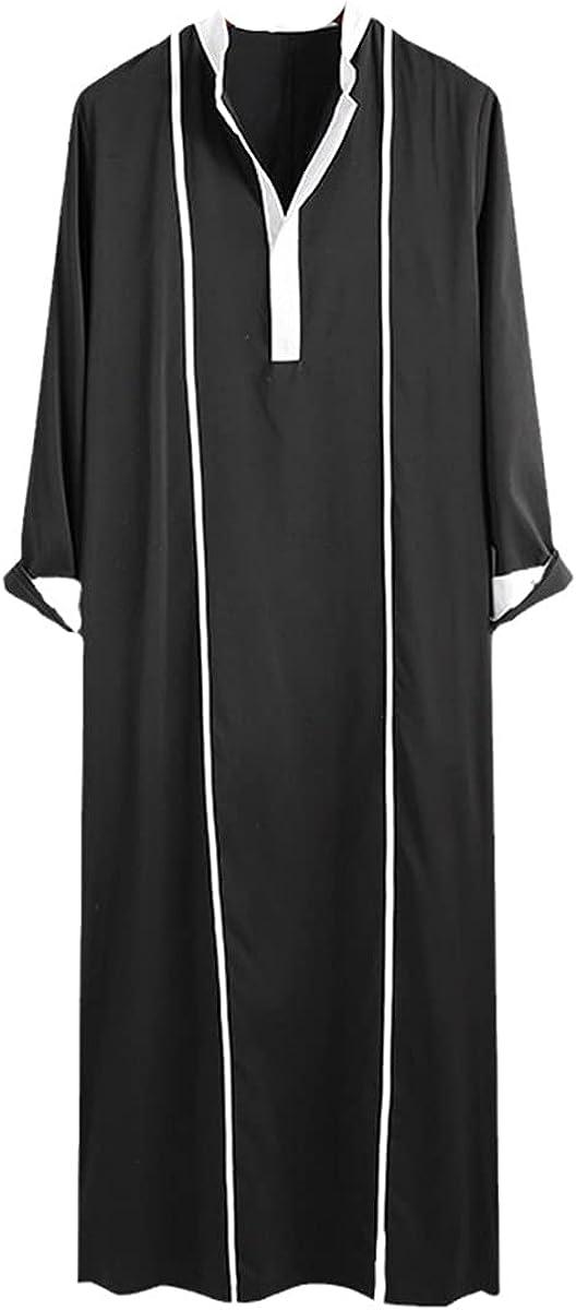 KEHAIOO Men Islamic Arabic Kaftan, Muslim Long Sleeve Patchwork Abaya Robes, Saudi Dubai Jubba Thobe