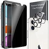 LK Compatible con iPhone 11 6.1 Pulgada Protectora de Privacidad, 2 Pack Cristal Templado y 2 Pack de Protector de Cámara Película Protectora de Pantalla Negra
