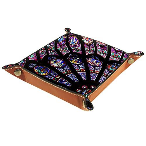 Bandeja de dados manchados de cristal para ventana, bandeja de llaves de joyería para monedas clave