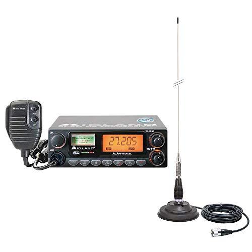 Midland Paquete Radio CB Alan 48 Excel 40CH Am-FM, Reloj Dual, 4W, 12V con Antena PNI ML100 con imán 100CM