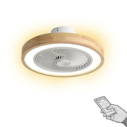 Silenciosa Ventilador de techo de madera con iluminación y mando a distancia, Ø50cm lámpara de madera regulable, velocidad del viento ajustable, 36W x 2 Luces de ventilador de techo, 3000K-6000K
