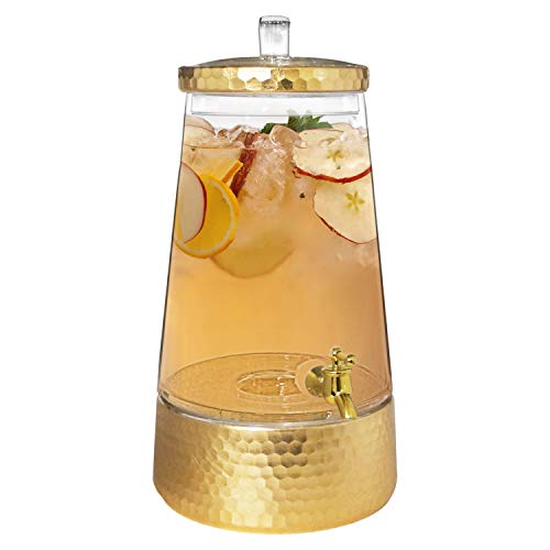 Fitz and Floyd Beverage Cold Drink Dispenser w/ 1.7 Gallon Capacity Glass Jug, Metal Handle & Leak-Proof Acrylic Spigot in Gorgeous Gift Box, Clear/Gold