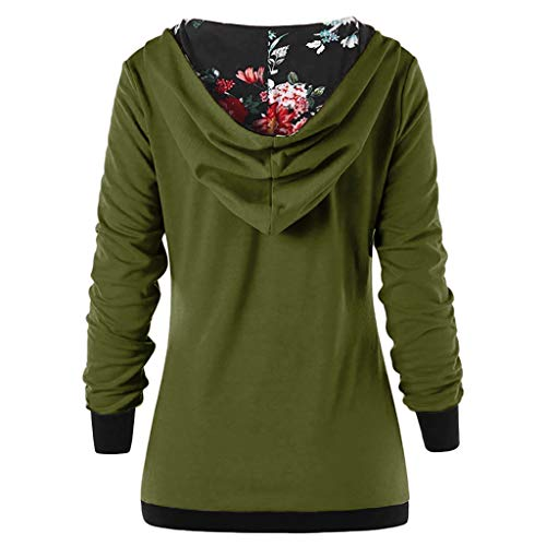 Kobay Women Sweatshirt, Ladies' Hoodie Autumn Long Sleeve Hoodies with Button Printed Hoodies Autumn Sweatshirt Top Womens Clothes Yours Clothing Gifts for Women Ladies T-Shirt Pullover (UK:8, Green)