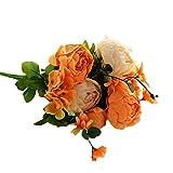 Jancery Flores Artificiales Flores Falsas Ramo de peonías para el hogar jardín Fiesta Boda decoración del Coche Naranja