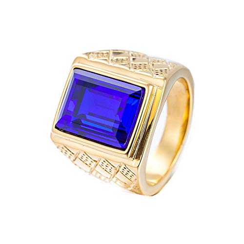 Adokiss Hombre acero inoxidable esmeralda azul Cubic Zirconia