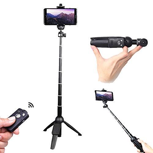 """Mini trípode de Escritorio, trípode de cámara expandible de 39"""", con autofoto Bluetooth con Obturador Remoto (Negro)"""