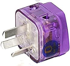 AC POWER TRAVEL ADAPTER PLUG FOR AUSTRALIA CHINA NEW ZEALAND ARGENTINA FIJI ISLANDS / WITH DUAL PLUG-IN PORTS AND SURGE PROTECTION / GROUNDED