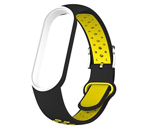 Reloj Correa, Adecuado para mi Banda MI, Compatible con MI Band 5, Correa de muñeca de Dos Colores, Correa Deportiva, Suave y cómoda, Duradera, Lavable, Liqingshangmao (Color : Black Yellow)