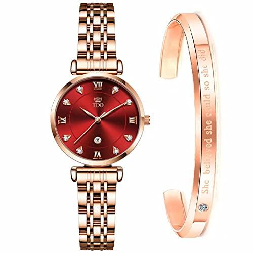 TDO Women Watch Rose Gold Stainless Steel Japanese Quartz Movement Fashion Dress Diamond Waterproof Ladies Wrist Watches Bracelet Set (Red)