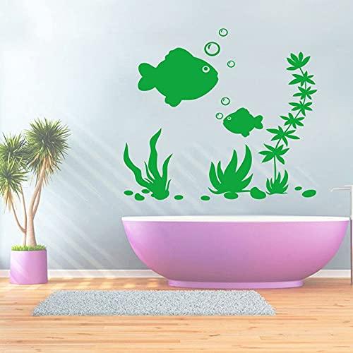 Mundo submarino tallado en vinilo pegatina de pared desmontable arte mural de baño moda Simple pegatina de fondo para el hogar A4 30x30cm