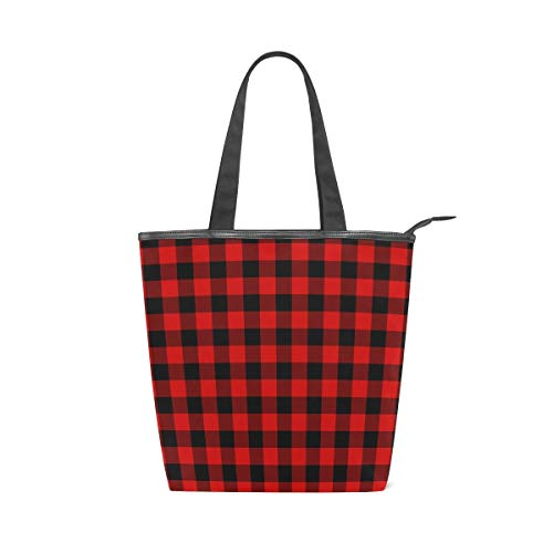 Black Red Check Stripe Leisure Fashion Canvas Handbag for Women Large Tote Bag Shoulder Bag for Gym Beach Travel Daily Bags (11×4×13.6 in)