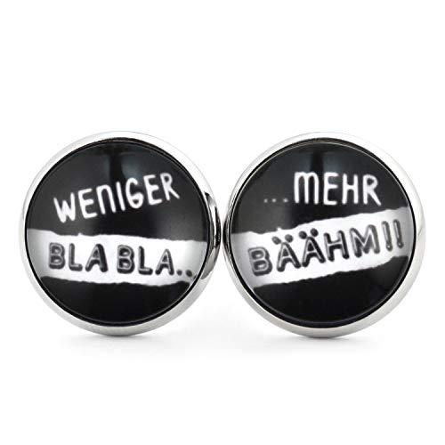 SCHMUCKZUCKER Damen Herren Ohrringe Motiv Weniger Bla Bla - Mehr Bähm lustige Edelstahl Ohrstecker Silber Schwarz 14mm
