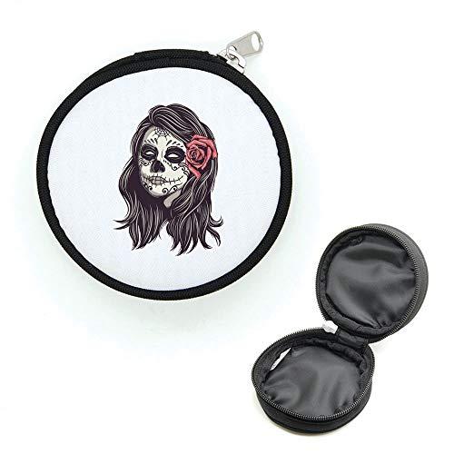 Mygoodprice Porte-monnaie rond avec zip tête de mort calavera girl 4