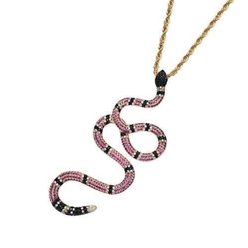 Harilla 9 Colores De Metal Larga Cadena De Serpiente Vintage Diseño Colgante Mujeres Collar - Dorado + Rojo