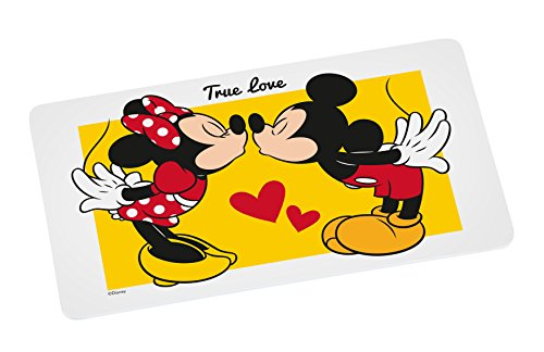 Disney Mickey Mouse Brettchen Mickey KISS 23, 5x14cm Frühstücksbrett Melamin, Weiß-bunt, 5 x 14 x 0,5 cm