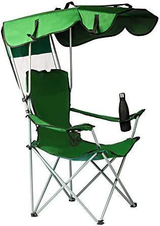 unhg Camp Chairs with Shade Canopy Chair Folding Camping Recliner Support 380 LBS with Two Cup product image
