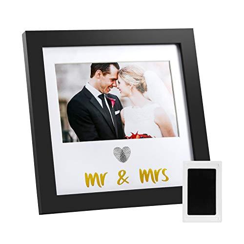 Jinchuan Heart Thumbprint Keepsake Frame and Ink Kit,Wedding Picture Frame Wedding Registry Idea Shower Gift For Bride Newlywed (Black Frame, Gold text)