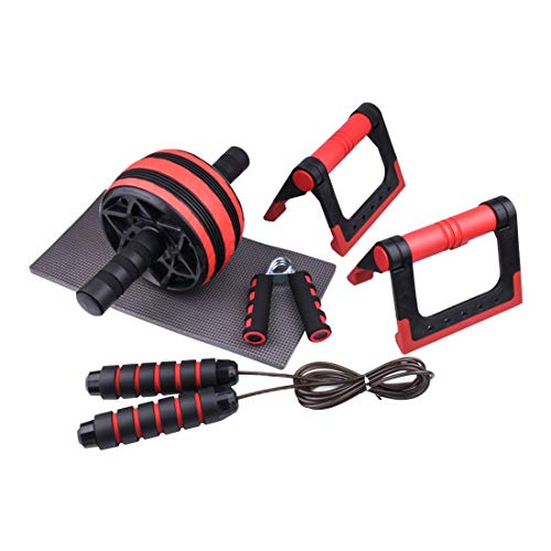 NIANZAI LUHUAPING Fitnessgeräte AB Rad-Rolle Push-Up Bar Jump Rope Handgriff Training Satz Bauch-Übung Core Fitness Muskelkraft Trainer for Home Gym Training