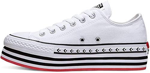 Converse, CTAS Lift White 566762C, Zapatillas con Plataforma para Mujer,