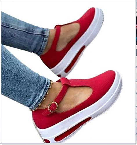 SQL Mocasines Retro de Cabeza Redonda para Mujer, nuevos Zapatos de Altura de Suela Gruesa de Verano bajo, Sandalias Informales de tacón de cuña Simple,Rojo,39