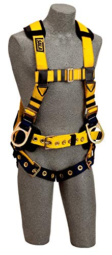 DBI-SALA,Delta 1106408 Full Body Iron Worker Harness, Back/Side D-Rings, Belt W/ Adj. Support Straps/Pad, Shoulder Pads, Tongue Buckle Leg Straps,XL, Yellow/Navy