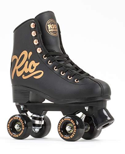 Rio Roller Quad Skates Rollschuhe, Erwachsene, Unisex, Rosa (Rose Black), 40,5