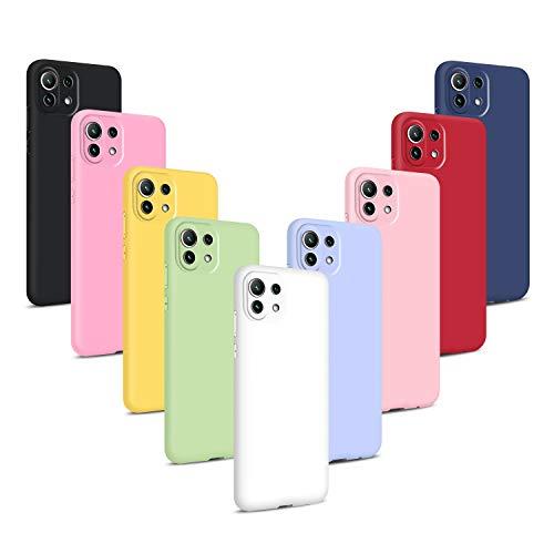 9X Funda para Xiaomi Mi 11 Lite 4G/5G, Carcasas Flexible Suave TPU Silicona Ultra Delgado Protección Caso(Rojo + Rosa Claro + Púrpura + Amarillo + Rosa Oscuro + Verde + Negro + Azul Oscuro)