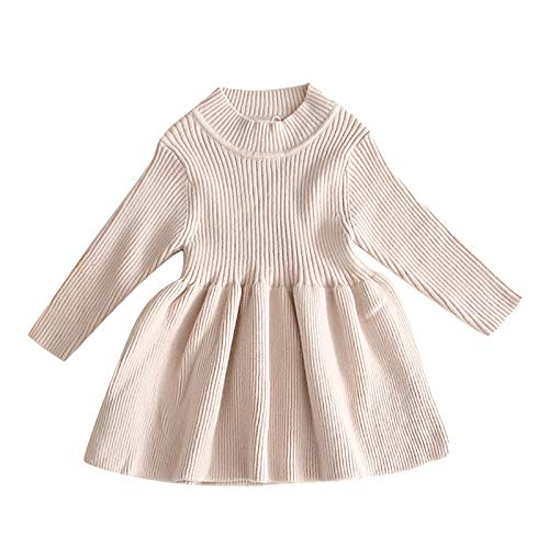 Toddler Baby Girl Knit Sweater Dress Princess Kids Ruffle Long Sleeve Casual Birthday Christmas Party Dresses Top Fall Winter Outfit Clothes Playwear Apricot 12-18 Months